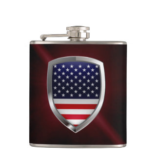 United States Metallic Emblem Hip Flask