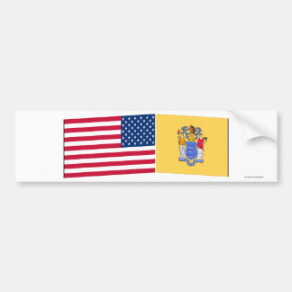United States New Jersey Flags Bumper Stickers