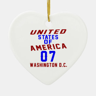 United States Of America 07 Washington D.C. Ceramic Heart Ornament