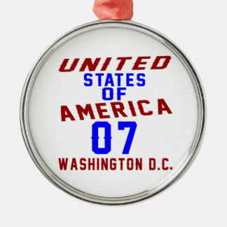 United States Of America 07 Washington D.C. Silver-Colored Round Ornament