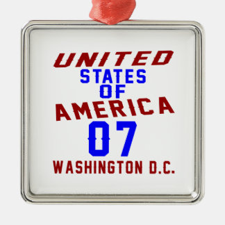 United States Of America 07 Washington D.C. Silver-Colored Square Ornament