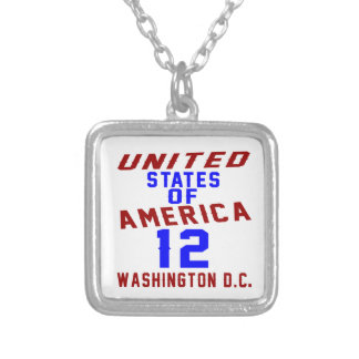 United States Of America 12 Washington D.C. Silver Plated Necklace
