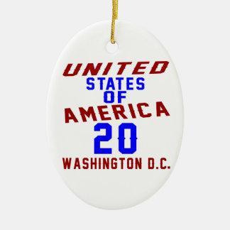 United States Of America 20 Washington D.C. Ceramic Oval Ornament