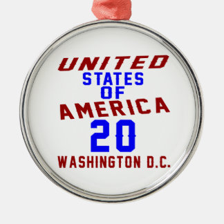 United States Of America 20 Washington D.C. Silver-Colored Round Ornament