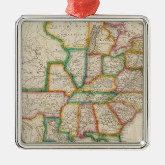 United States of America 4 Silver-Colored Square Ornament