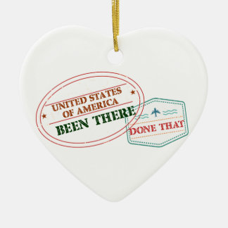 United States of America Been There Done That Ceramic Heart Ornament