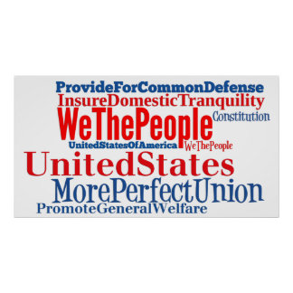 United States of America Constitution Words Poster