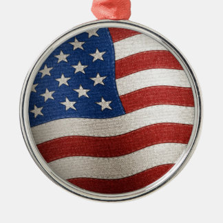 United States of America Flag - Illustration Silver-Colored Round Ornament