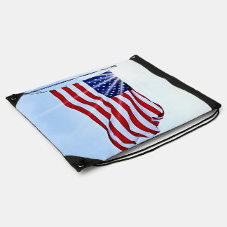 United States of America flag in the wind Drawstring Bag