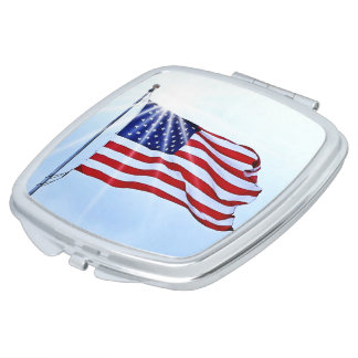 United States of America flag in the wind Vanity Mirror