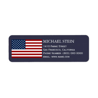 United States of America flag, name & Return Address Label