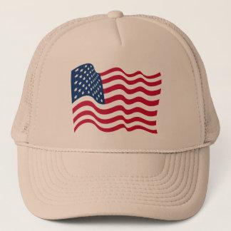 united states of america flag waving symbol trucker hat