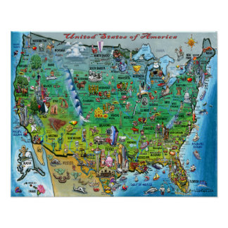 United States of America Fun Map Poster