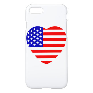 United States of America in heart shape iPhone 7 Case