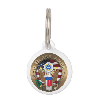 United States of America Seal - God Bless America Pet Name Tag