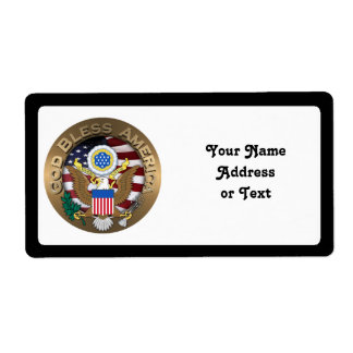 United States of America Seal - God Bless America Shipping Label