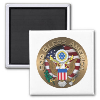 United States of America Seal - God Bless America Square Magnet