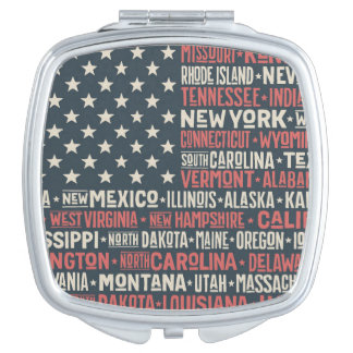 United States Of America |States & Capitals Mirror For Makeup