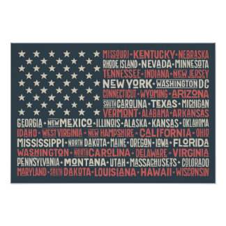 United States Of America |States & Capitals Poster