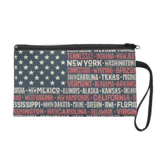 United States Of America |States & Capitals Wristlet Clutch