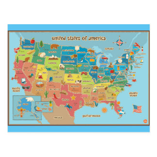 United States of America Symbol Map Postcard
