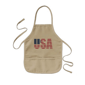 United States of america USA Flag letter design Kids Apron