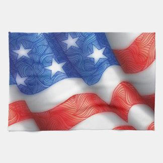 United States of America Wavy Flag Zen Doodle Art Towel
