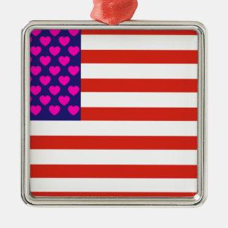 United States of Love Silver-Colored Square Ornament