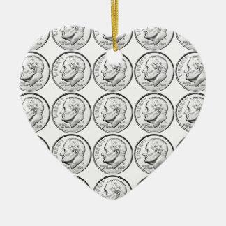 United States Roosevelt Dime Ceramic Heart Ornament