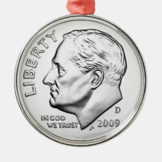 United States Roosevelt Dime Silver-Colored Round Ornament