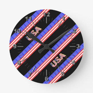 United States stripes flag Round Clock