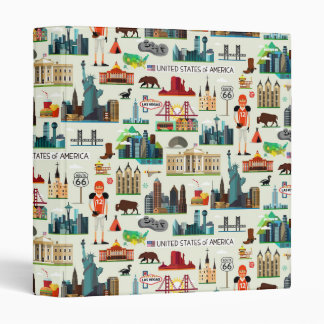 United States Symbols Pattern 3 Ring Binder