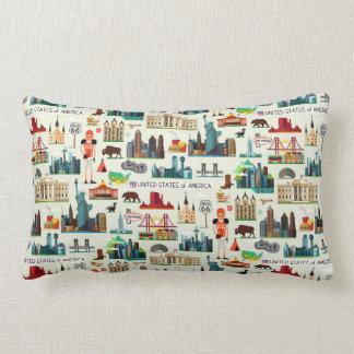 United States Symbols Pattern Lumbar Pillow