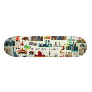 United States Symbols Pattern Skate Boards