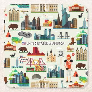 United States Symbols Pattern Square Paper Coaster