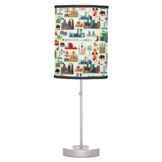 United States Symbols Pattern Table Lamp