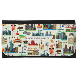 United States Symbols Pattern Wallet