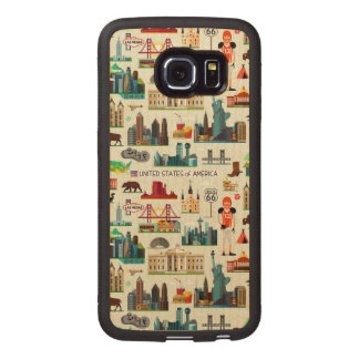 United States Symbols Pattern Wood Phone Case