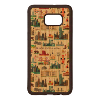 United States Symbols Pattern Wood Samsung Galaxy S6 Edge Case