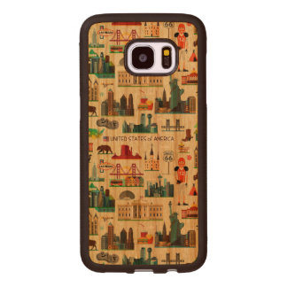 United States Symbols Pattern Wood Samsung Galaxy S7 Edge Case