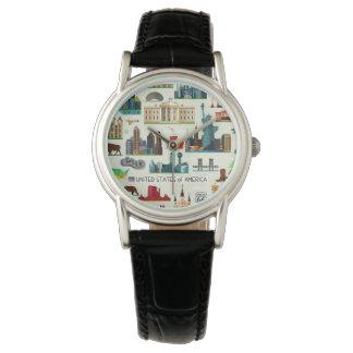 United States Symbols Pattern Wrist Watches