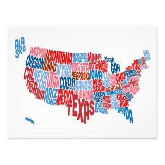 United States Typography Text Map Photo Print
