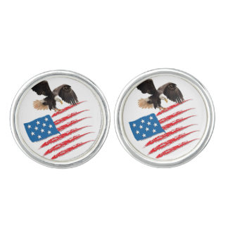 United States US Flag Cuff Links