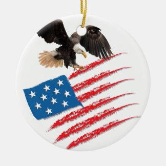 United States US Flag Round Ceramic Ornament