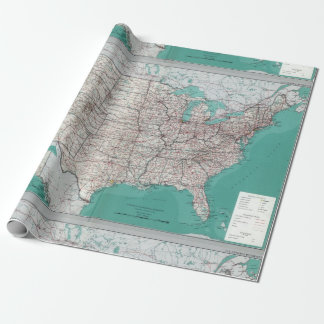 United States USA Road Map Decorative Roll Wrapping Paper
