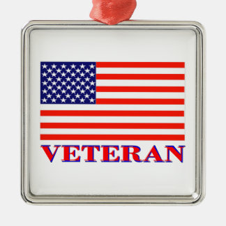 United States Veteran Silver-Colored Square Ornament