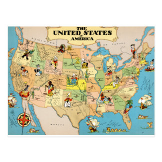 United States Vintage Map Postcard