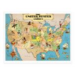 United States Vintage Map Postcards