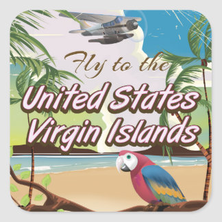 United States Virgin islands vintage travel poster Square Sticker