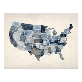 United States Watercolor Map Photo Art
